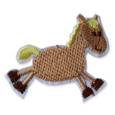 LIGHT BROWN HORSE MOTIF IRON ON EMBROIDERED PATCH APPLIQUE